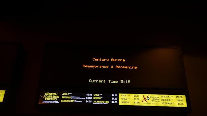 Shown is a marquee at Century Aurora cinema, formerly the Century 16, during a reopening and remembrance ceremony Thursday, Jan. 17, 2013 in Aurora, Colo. The theater is where 12 people were killed and dozens injured in a shooting rampage last July. (AP Photo/The Denver Post, RJ Sangosti, Pool)
