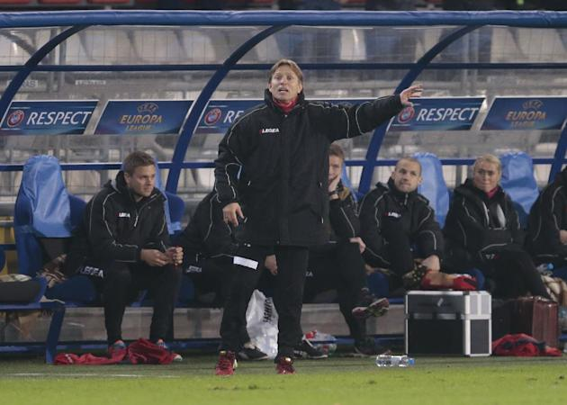 Tromso's coach Steinar Nilsen directs his team during the Europa League group K soccer match between Anzhi Makhachkala and Tromso IL at Saturn stadium in Ramenskoye, outside Moscow, in Russia, on Thur