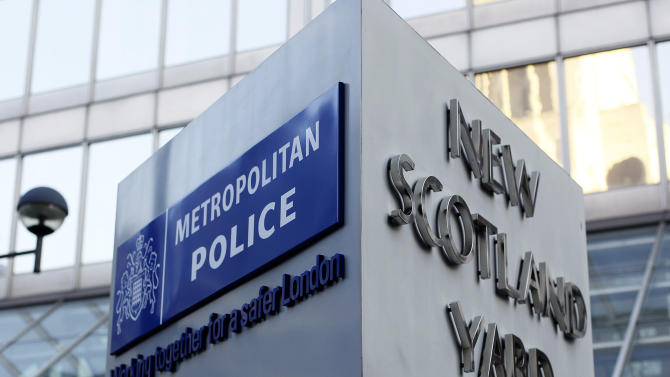 A general view of New Scotland Yard, the headquarters of the London Metropolitan Police Britain's for-most and largest police serviceFriday, Feb., 3, 2012. Hackers have intercepted a conference call between the Federal Bureau of Investigation and Scotland Yard it has emerged . At the heart of the conference call between the FBI and Scotland Yard was a strategy aimed at bringing down the hacking collective known as Anonymous, which has launched a series of embarrassing attacks across the Internet.(AP Photo/Alastair Grant)