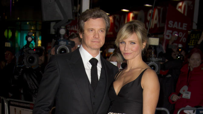 Cameron Diaz and Colin Firth arrive for the World Premiere of Gambit at the Empire cinema in central London, Wednesday, Nov. 7, 2012. (Photo by Joel Ryan/Invision/AP)