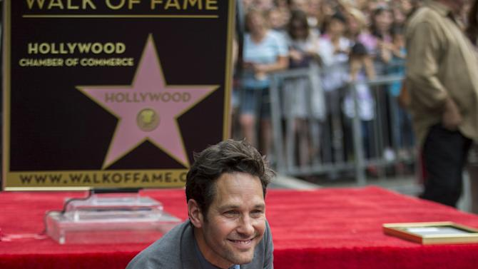 Actor Rudd touches his star after it was unveiled on the Walk of Fame in Hollywood