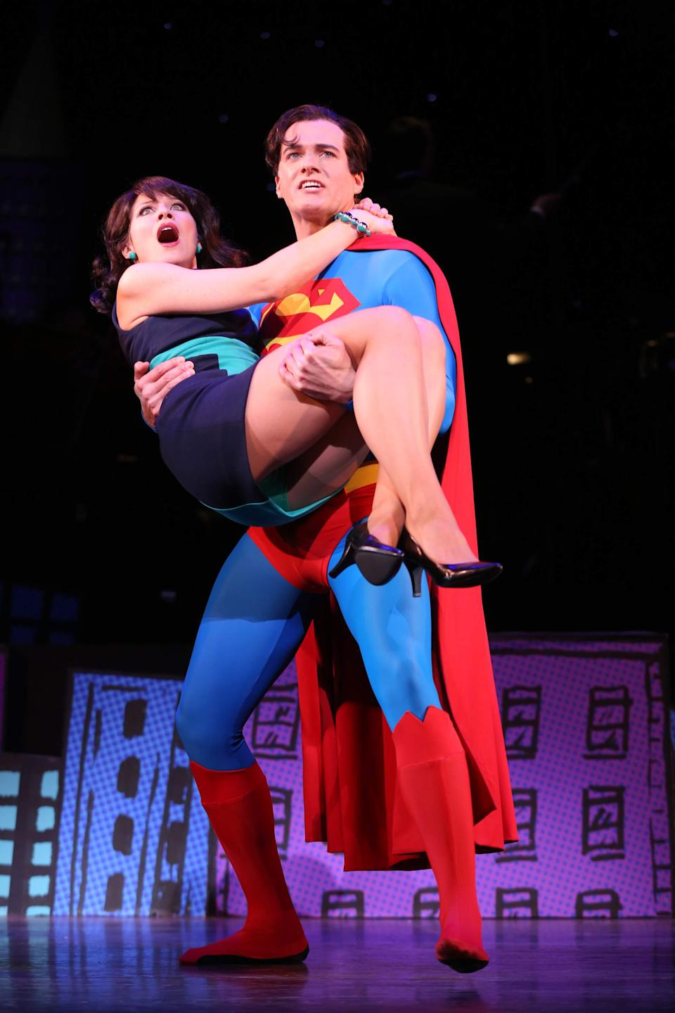 "This undated image released by Helene Davis Public Relations shows Jenny Powers as Lois Lane, left, and Edward Watts  as Superman in Encore's ""It's A Bird It's A Plane It's Superman,"" performing through March 24 at New York City Center in New York. (AP Photo/Helene Davis Public Relations, Joan Marcus)"
