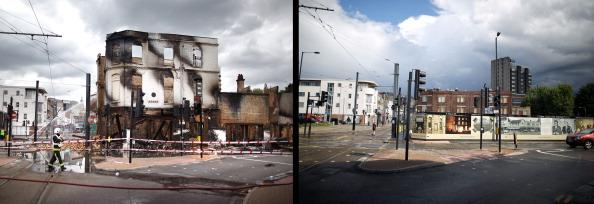 In this composite image (Left Photo) A fire officer stands by the burnt remains of Reeves Corner furniture store on August 9, 2011 in Croydon, England. (Right Photo) The empty space left after Reeves