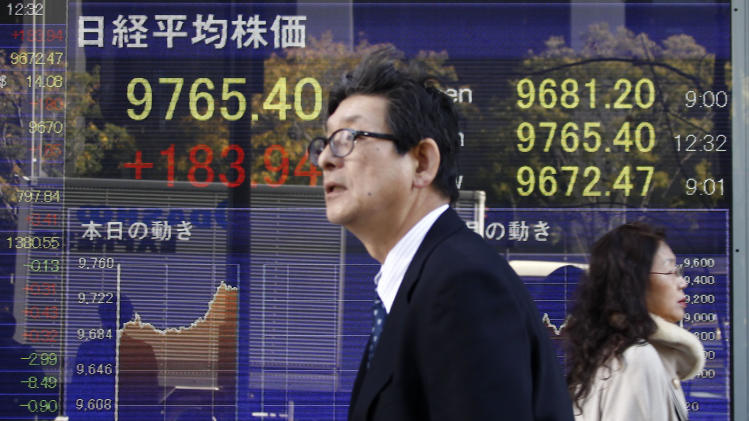 People walk by an electronic stock board of a securities firm in Tokyo, Thursday, Dec. 13, 2012. Asian stock markets rose Thursday with the help of Japan's Nikkei 225, which was propelled higher by a weakening yen. (AP Photo/Koji Sasahara)