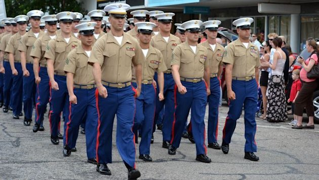 A contingent of US Marines take part in the Anzac Day march in Darwin on April 25, 2012
