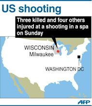 Map locating Milwaukee, Wisconsin where three people were killed and four others injured after a gunman opened fire in a day spa on October 21
