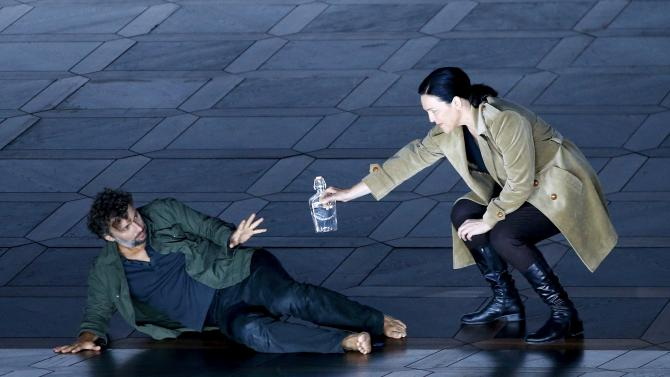 "Pieczonka and Kaufmann perform on stage during a dress rehearsal of Ludwig van Beethoven's opera ""Fidelio"" in Salzburg"
