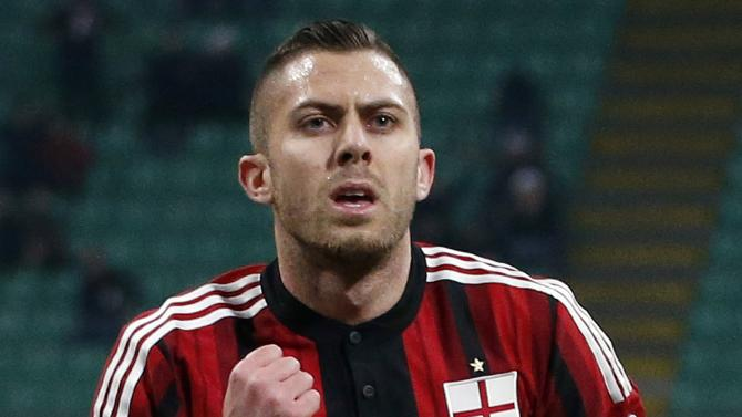 AC Milan's Jeremy Menez celebrates after scoring against Parma during their Italian Serie A soccer match at San Siro stadium in Milan