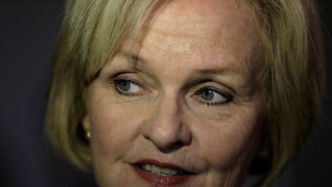 FILE - This Nov. 5, 2012 file photo shows Democrat Claire McCaskill in Kansas City, Mo. McCaskill on Tuesday, Nov. 6, 2012 won the Missouri Senate race against Republican challenger Todd Akin. (AP Photo/Charlie Riedel, File)