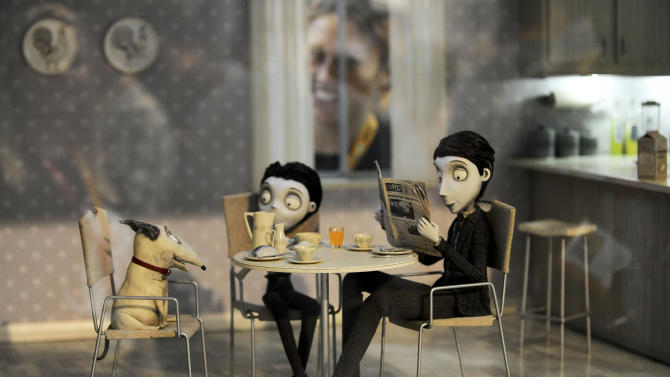 """FILE - In this July 11, 2012 file photo, figures on the set of of the Tim Burton Disney movie """"Frankenweenie"""" are shown on display at Comic-Con preview night held at the San Diego Convention Center, in San Diego.  (Photo by Denis Poroy/Invision/AP, File)"""