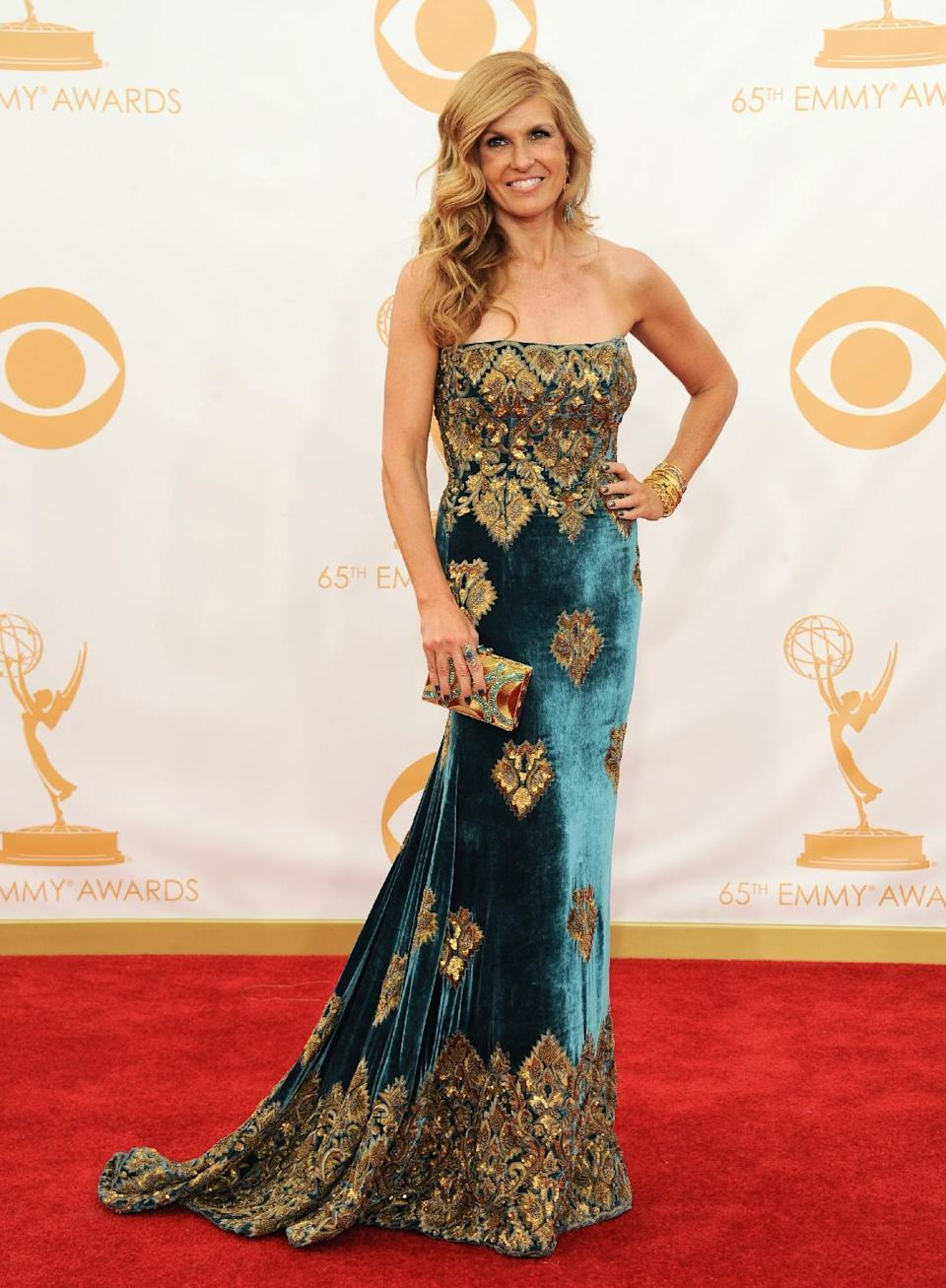 Connie Britton arrives at the 65th Primetime Emmy Awards at Nokia Theatre on Sunday Sept. 22, 2013, in Los Angeles. (Photo by Jordan Strauss/Invision/AP)