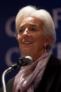 Christine Lagarde, the managing director of the International Monetary Fund, speaks during a news conference at a meeting of Group of 20 finance ministers and central bank governors in Mexico City, Monday, Nov. 5 2012. Finance officials from the world's largest economies on Monday called on countries to reject protectionism and currency manipulation despite a raft of economic problems that include the U.S. deficit. (AP Photo/Eduardo Verdugo)