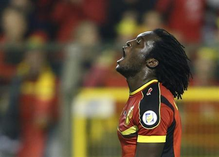 Belgium's Romelu Lukaku reacts during a 2014 World Cup qualifying soccer match against Wales in Brussels