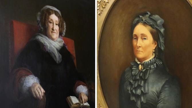 """This Wednesday, Oct. 16, 2013 combination of photos shows the portraits of Mrs. Veuve Clicquot Ponsardin, left, and Mrs. Louise Veuve Pommery displayed at the entrance of their companies' headquarters in Reims, eastern France. Without the widows of Champagne, mankind's most seductive fizz might well not be what it is now. One of the world's most famous Champagnes - Veuve (""""Widow"""") Clicquot - explicitly evokes the rather grim tradition. But other legendary houses - Bollinger, Laurent-Perrier and Pommery - also got their starts from tragedy-tinged widows. Then there are the many lesser-known names that still carry the widow tag, such as Veuve Fourny and Veuve Doussot. (AP Photo/Remy de la Mauviniere)"""