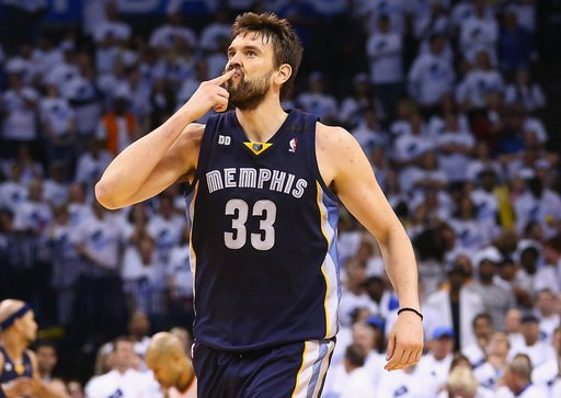 OKLAHOMA CITY, OK - MAY 15:  Marc Gasol #33 of the Memphis Grizzlies celebrates a basket in the final minutes of play against the Oklahoma City Thunder during Game Five of the Western Conference Semifinals of the 2013 NBA Playoffs at Chesapeake Energy Arena on May 15, 2013 in Oklahoma City, Oklahoma.  The Grizzlies defeated the Thunder 88-84 to win the series 4-1 and advance to the Western Conference Finals.  (Photo by Ronald Martinez/Getty Images)
