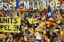 Catalan pro-independence demonstrators gather at Catalunya square during a rally in Barcelona