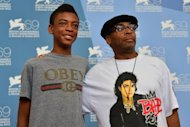 "US film director Spike Lee poses with his son Jackson during the photocall of ""Bad 25"" during the 69th Venice Film Festival at Venice Lido. US director Spike Lee brings together Michael Jackson's old studio hands and previously unseen behind-the-scenes footage for a documentary that premiered Friday at the Venice film festival"