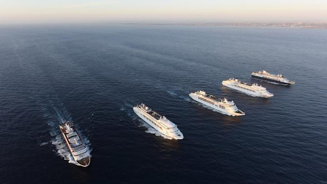 Five ships from the P&O Cruise line meet for the first time at sunrise off the coast of Sydney, Australia