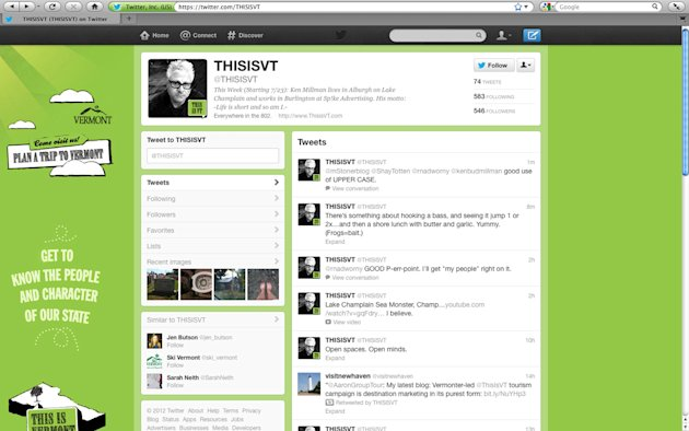 The Twitter page for Vermont Tourism is seen on Thursday, July 26, 2012. Copying Sweden, Vermont&#39;s tourism department has launched a new social media campaign that relies on its residents to tweet about why Vermont is a great place live, work and visit.The first tweeter, Ken Millman, who lives in Alburgh and works in Burlington, has tweeted about fishing, his commute and visiting his mother in Quebec.(AP Photo/Toby Talbott)