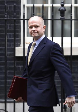 British Foreign Secretary William Hague leaves following a cabinet meeting at 10 Downing Street in central London, Tuesday, Nov. 15, 2011. (AP Photo/Lefteris Pitarakis)