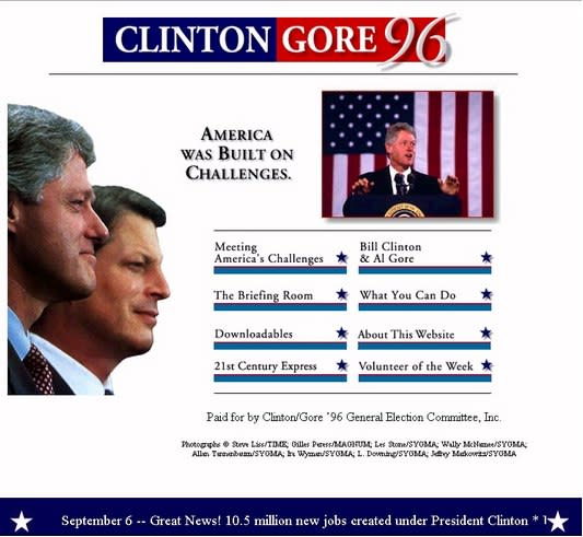 See Bill Clinton's Sleek 1996 Campaign Website