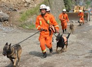 Chinese rescue workers with sniffer dogsas they search for survivors in Yunnan Province