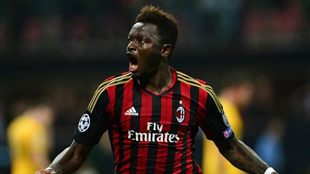 AC Milan's midfielder Sulley Ali Muntari celebrates after scoring against Celtic (AFP)