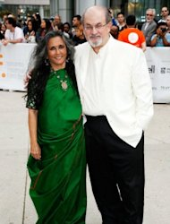 "Director Deepa Mehta (left) and writer Salman Rushdie arrive at the ""Midnight's Children"" Premiere at the 2012 Toronto International Film Festival in Toronto on September 9. The new film of Rushdie's 1981 novel ""Midnight's Children"", which is set in India after independence, may not be released in the country, its director has said, blaming ""insecure politicians"""