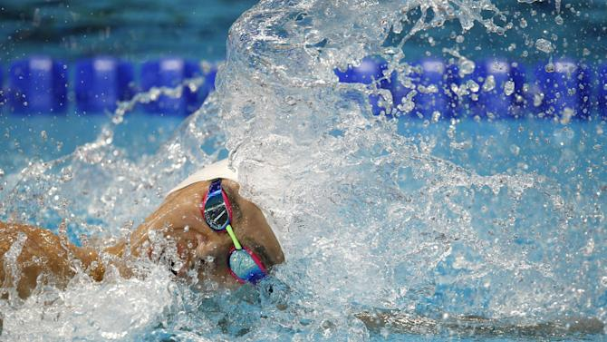 China's Sun Yang competes in the men's 200m freestyle final at the Swimming World Championships in Kazan, Russia, Tuesday, Aug. 4, 2015. (AP Photo/Sergei Grits)