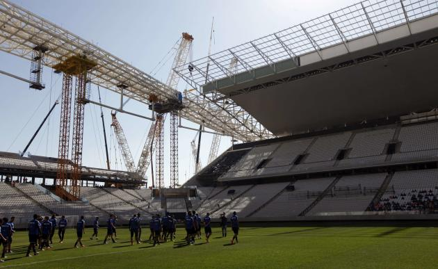 Corinthians soccer players arrive to attend a training session at the Arena de Sao Paulo Stadium in Sao Paulo