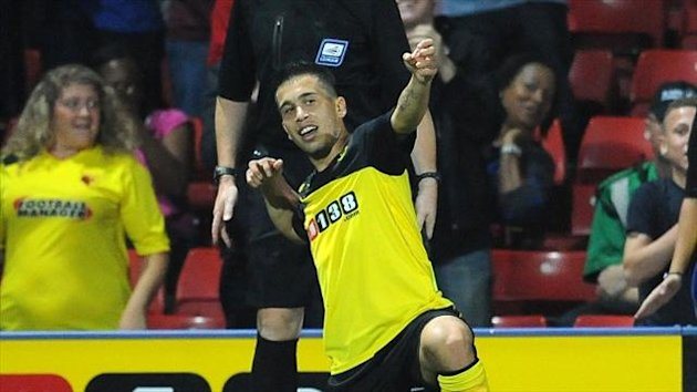 Cristian Battocchio celebrates scoring Watford's second goal