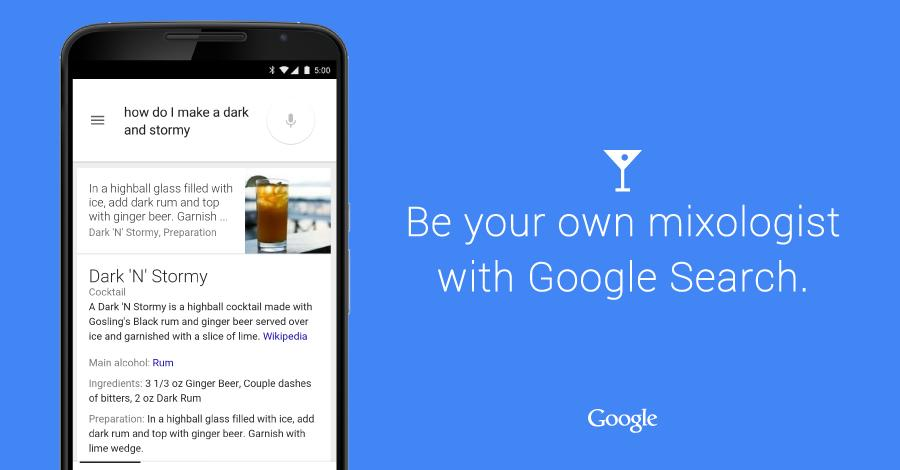 Shaken not stirred: Google adds cocktails to search results