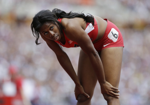 United States' Francena McCorory reafts after a women's 400-meter heat during the athletics in the Olympic Stadium at the 2012 Summer Olympics, London, Friday, Aug. 3, 2012. (AP Photo/Anja Niedringhaus)