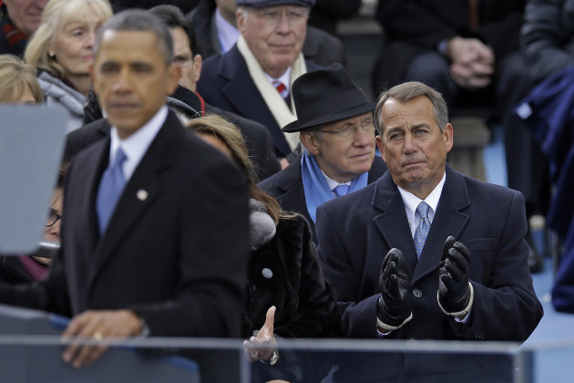 <p>               Speaker John Boehner of Ohio listen as President Barack Obama delivers his Inaugural address at the ceremonial swearing-in at the U.S. Capitol during the 57th Presidential Inauguration in Washington, Monday, Jan. 21, 2013. (AP Photo/Carolyn Kaster)