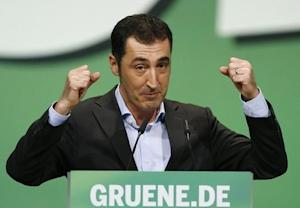 Oezdemir of environmental Greens makes point during speech at party meeting in Berlin