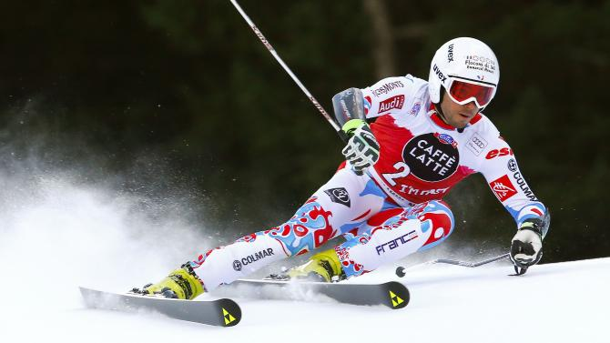 Fanara of France clears a gate during the men's World Cup Giant Slalom skiing race in Alta Badia