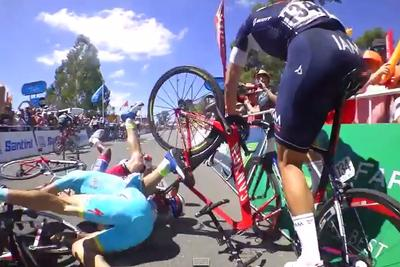 This is a cyclist's-eye view of an enormous finish line crash