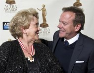 Shirley Douglas smiles at her son Kiefer Sutherland before she received the ACTRA Toronto Award of Excellence at the 11th annual ACTRA awards in Toronto, Saturday February 23, 2013. THE CANADIAN PRESS/Galit Rodan
