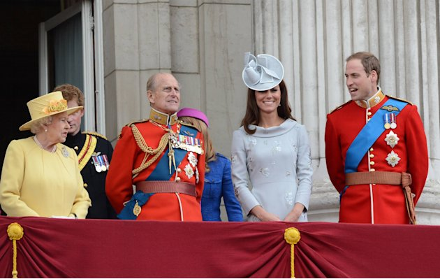Queen Elizabeth II, Prince Philip, Duke of Edinburgh, Catherine, the Duchess of Cambridge, aka Kate Middleton and Prince William, The Duke of Cambridge  2012 Trooping the Colour ceremony on the Balcon