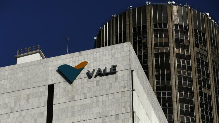 A view shows the company logo of Brazilian mining company Vale SA at its headquarters in downtown Rio de Janeiro