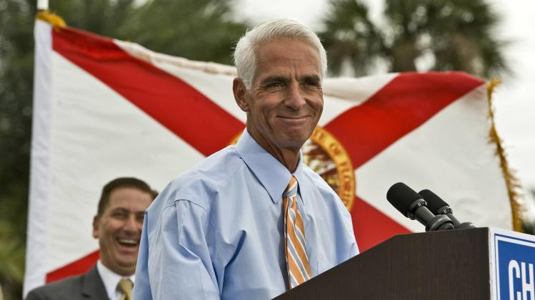 Former Republican Governor Crist addresses supporters in a waterfront park where he announced his Democratic candidacy for governor during a rally in St. Petersburg, Florida in this file photo