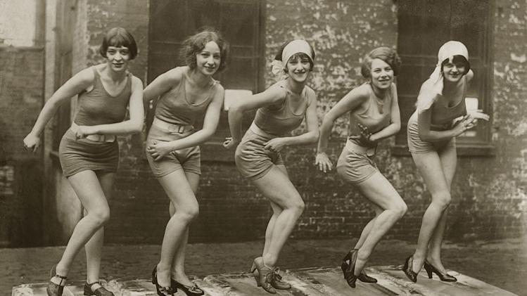 "Female dancers performing the Charleston in 1926 as seen on ""Prohibition."""