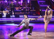 "In this April 23, 2012 photo released by ABC, Roshon Fegan, left, and his partner Chelsie Hightower perform on the celebrity dance competition series, ""Dancing with the Stars,"" in Los Angeles. (AP Photo/ABC, Adam Taylor)"