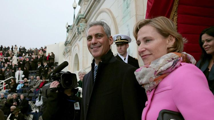 Chicago Mayor Rahm Emanuel and wife Amy Rule arrive on the West Front of the Capitol in Washington, Monday, Jan. 21, 2013, for the Presidential Barack Obama's ceremonial swearing-in ceremony during the 57th Presidential Inauguration.  (AP Photo/Win McNamee, Pool)