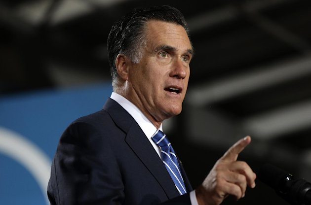 Republican presidential candidate, former Massachusetts Gov. Mitt Romney gestures as he speaks at a campaign stop at the Wisconsin Products Pavilion at State Fair Park in West Allis, Wis., Friday, Nov. 2, 2012. (AP Photo/Charles Dharapak)