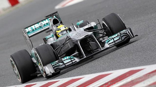 Mercedes GP's Formula One driver Nico Rosberg of Germany drives during a training session at Circuit de Catalunya racetrack in Montmelo, near Barcelona (Reuters)