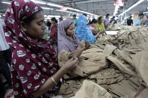 Women work at a garment factory in Savar