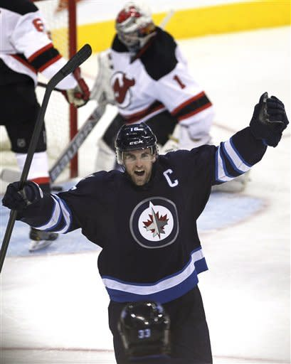 Ladd has 3 points to lead Jets over Devils 3-1