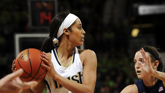 Notre Dame guard Skylar Diggins, left, looks to pass around Connecticut guard Kelly Faris during the first half of an NCAA college basketball game, Monday, March 4, 2013, in South Bend, Ind. (AP Photo/Joe Raymond)