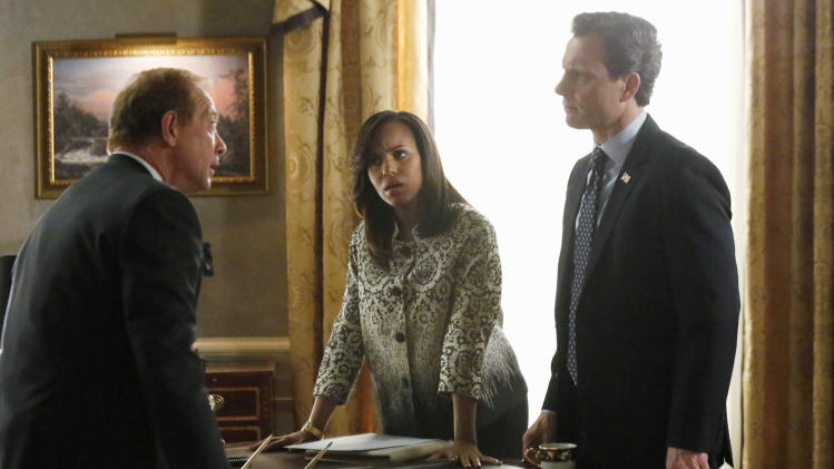 "This image released by ABC shows actors, from left, Jeff Perry, Kerry Washington and Tony Goldwyn in a scene from ""Scandal."" The series airs Thursdays at 10 p.m. EST on ABC. (AP Photo/ABC, Richard Cartwright)"